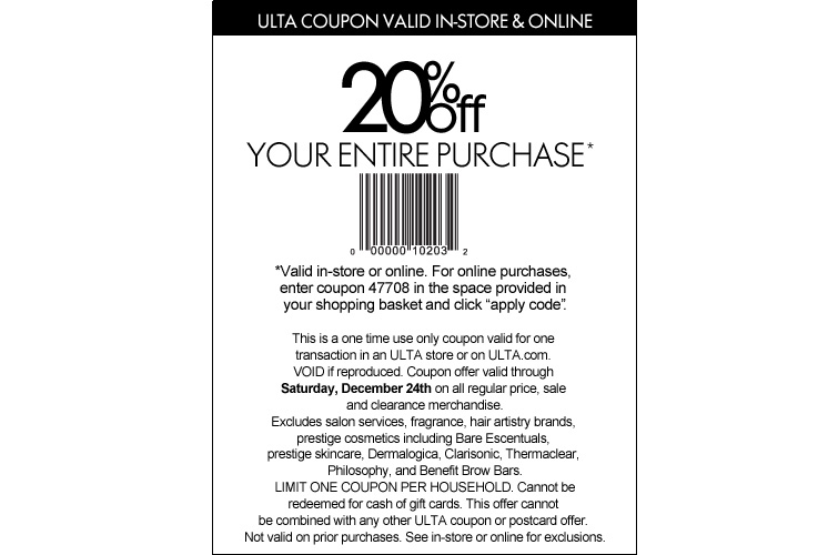 Ulta 20 off entire purchase coupon code