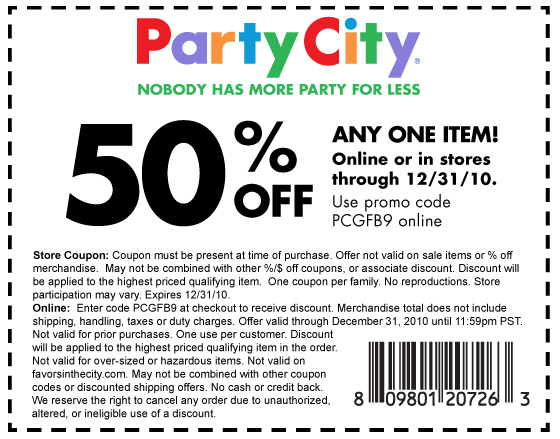 For your party coupon code