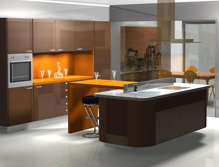Diseño de cocina en chocolate y naranja