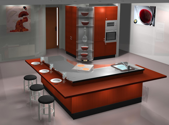 Diseño de cocina con isla y muebles columnas en L