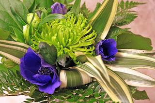 anemoner, grön krysantemum