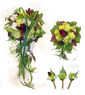 brudbukett, tärnbukett, corsage, grön ros