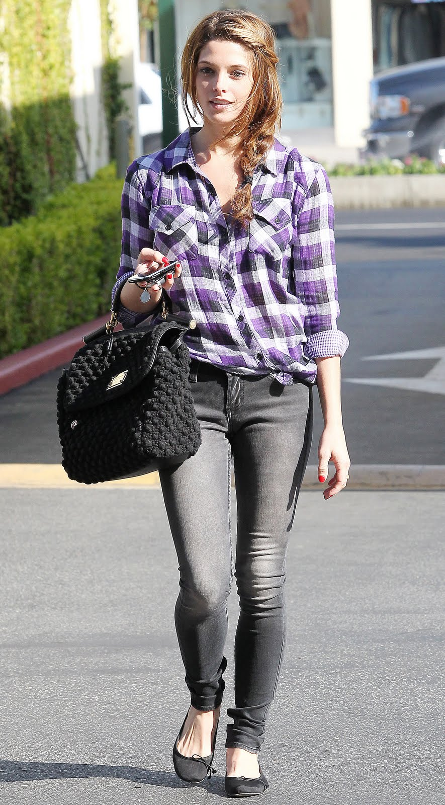 Twilight Star Ashley Greene In Plaid Shirt