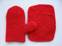 Red mitt and dishcloths, child sized.