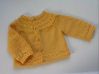 Seamless yoked cardigan in yellow