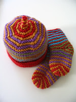 Garter stitch baby hat and socks