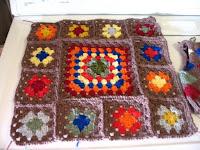 a few assembled granny squares