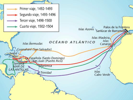 Mapa viajes cristobal colon imagui for Cuarto viaje de colon