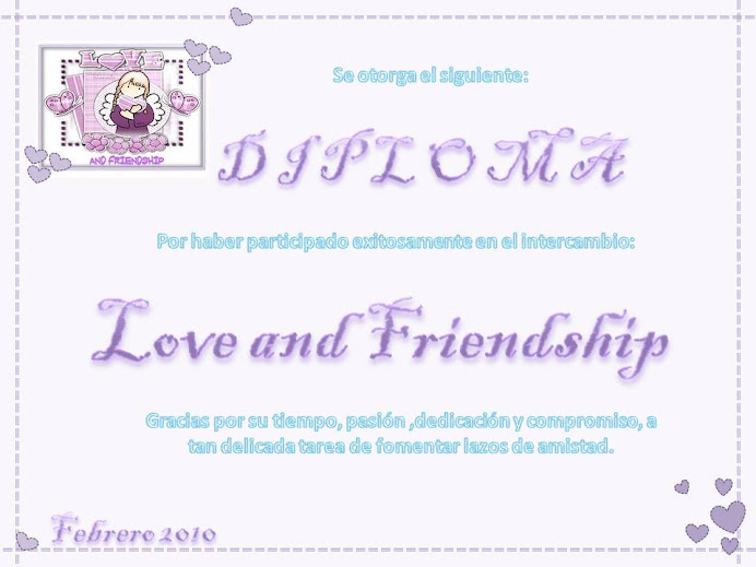 Diploma de participacion en el Inter love and friendship, organizado por Maribel