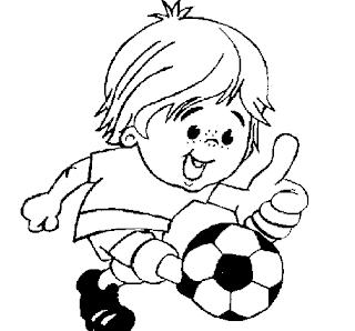 desenho de Menino jogando futebol