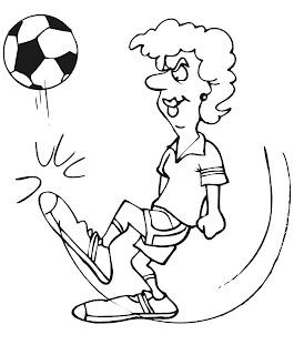 desenho de mulher jogando futebol