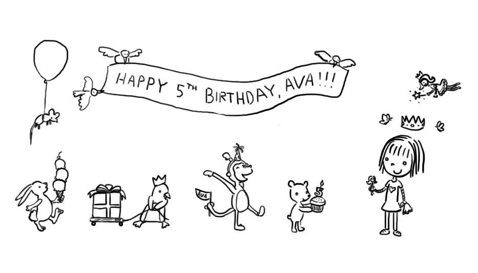 Kat Doodles Happy Birthday Ava