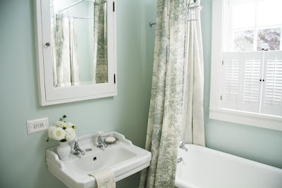 Bathroom paint color Opal Essence by Benjamin Moore