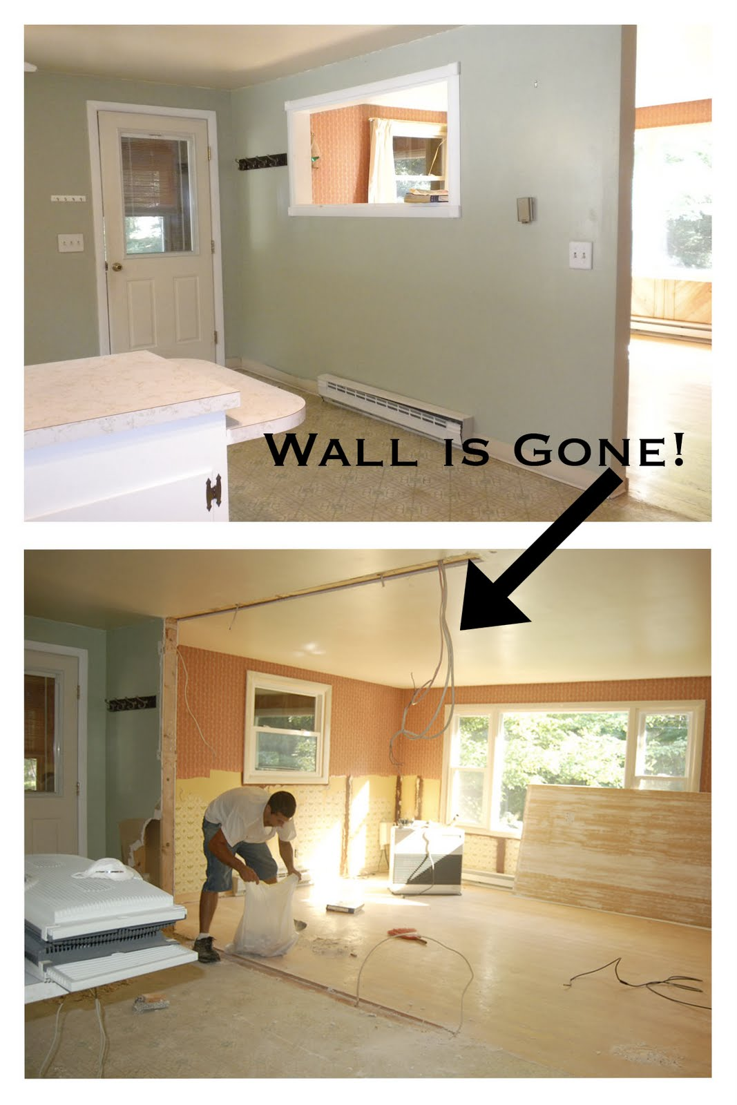 how to build one step down between rooms