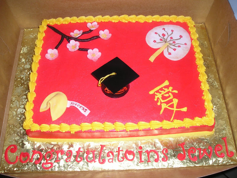 Asian Themed Graduation Cake title=
