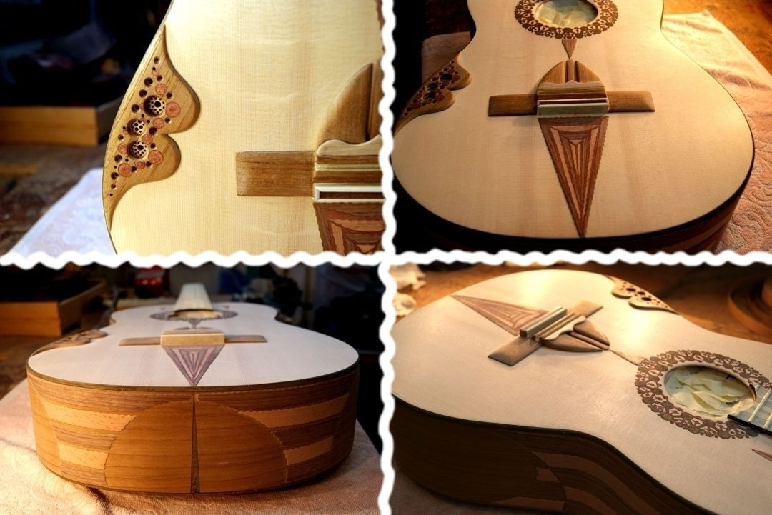 COMPLETED  KERTSOPOULOS GUITAR IN THE WORKSHOP BEFORE VARNISHING