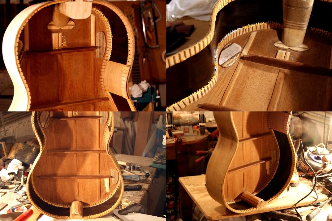 A KERTSOPOULOS GUITAR BODY READY FOR GLUING ON IT THE SOUNDBOARD