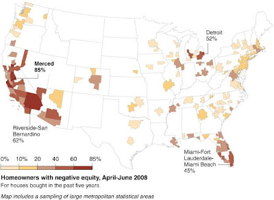 Percentage of Homeowners with Negative Equity, April-June 2008, Source: New York Times