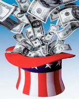 Money Flying Out of Uncle Sam's Hat