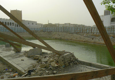 Ground water fills up a Qatar building centre.