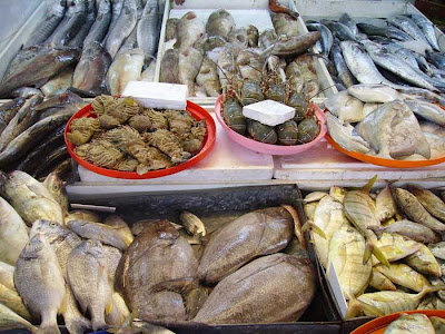 A selection of fish at Doha's wholesale fish market