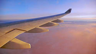 Qatar Airways: View of the sky and the wing