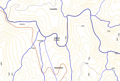 Mapa hidrológico en alrededores de la cueva Bandoleros