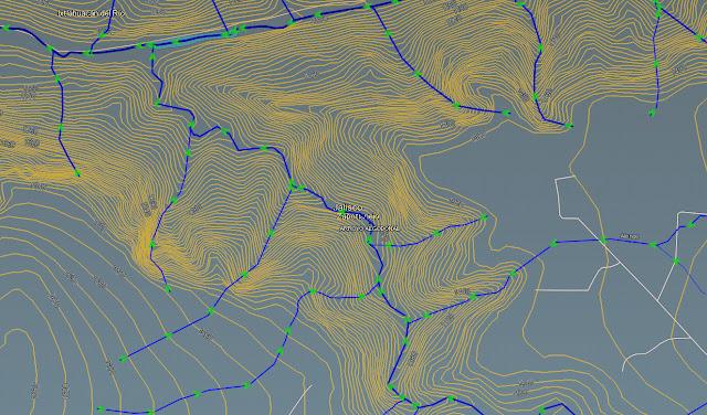 Mapa hidrológico del Arroyo el Algodonal o Cañón el Aguacate