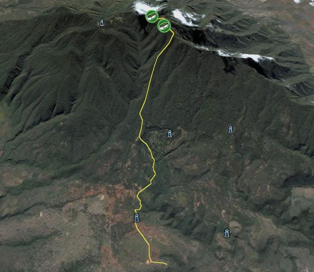 Ruta ascenso a Cerro Viejo, Enero 2009