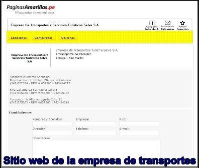 captura de pantalla de las paginas amarillas