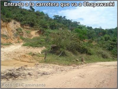 ingreso a la carretera que va a chapawanki (lamas, peru)