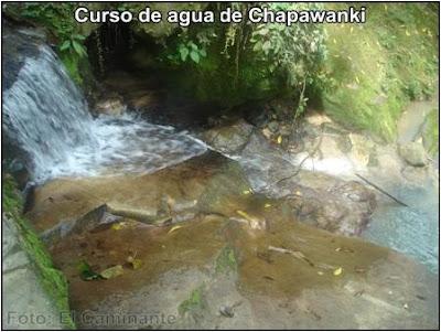 curso de agua de la cascada de chapawanki (lamas, peru)
