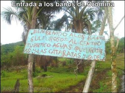 letrero de bienvenida a los baños sulfurosos de oromina