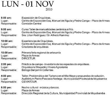 Cronograma del XV Festival de la Orquídea 2010 (Moyobamba, Perú)- Lunes 01 de Noviembre