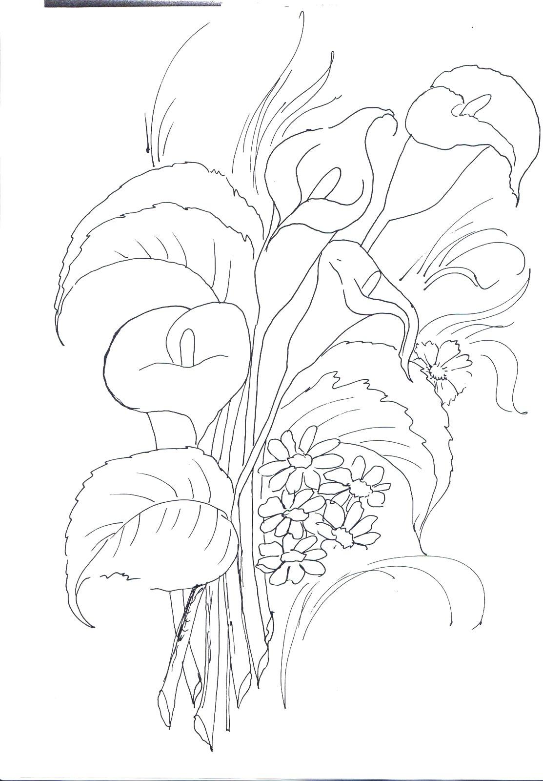 Ramo de flores para colorear - Dibujos para colorear - IMAGIXS