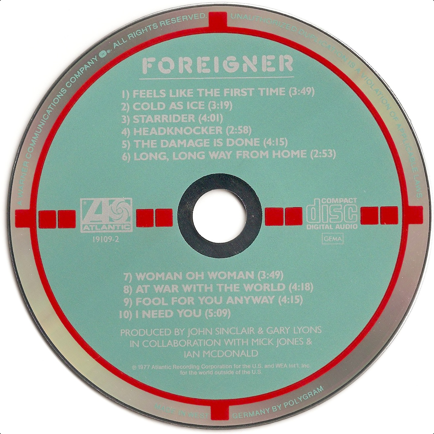 D 1b : Atlantic   19109 2   Red / Teal / Silver   MADE IN WEST ☐ GERMANY BY  POLYGRAM   No Outer Mirror Band   7567 19109 2 2895 240 03 #