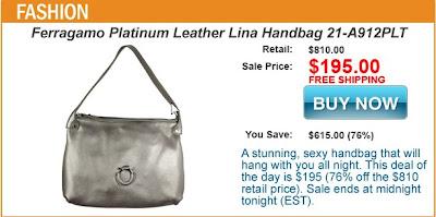 Ferragamo Platinum Leather Lina Handbag 21-A912PLT Jomadeals