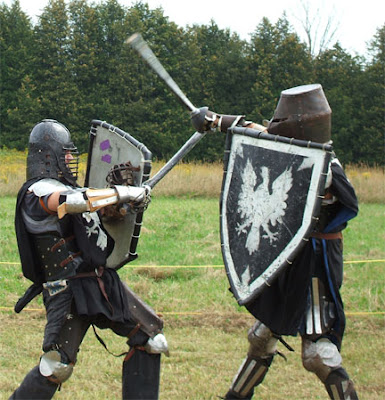 Two contestants with rattan swords & board at the 2006 Shire Championship