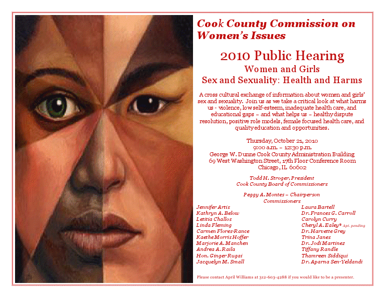 ... 2010 Public Hearing on Women & Girls: Sex & Sexuality - Health & Harms.