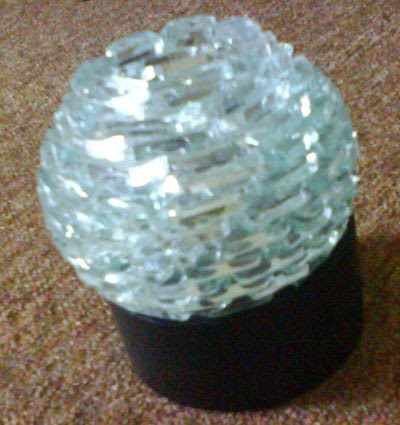 Candle Holder CH 03 made from glass and wooden base size 8,5cm x 10,5 ...