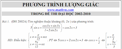 Phuong trinh luong giac, de thi dai hoc 2002-2010, co loi giai