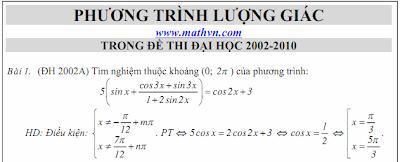 Đáp án đề thi 2012 phuong trinh luong giac de thi dai hoc Phương trình lượng giác trong đề thi Đại học 2002 2010
