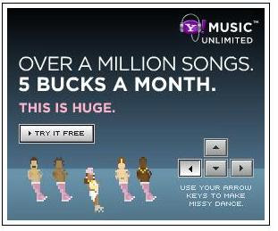 Yahoo music! interactive advertising game banner