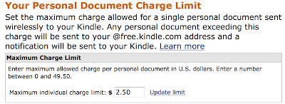 Amazon Allows Kindle Owners to Set a Charge Limit for Transmission of Personal Documents