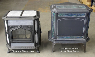 As you may notice, the body of the new stove is currently resting on the  base of a Keystone/Palladian stove to give it the correct approximate ... - Woodstock Soapstone Co. Blog: Designer's Scale Model