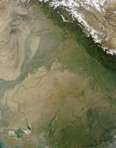 Satellite view of the Sarasvati River basin running from the Himalayan Mountains to the west coast