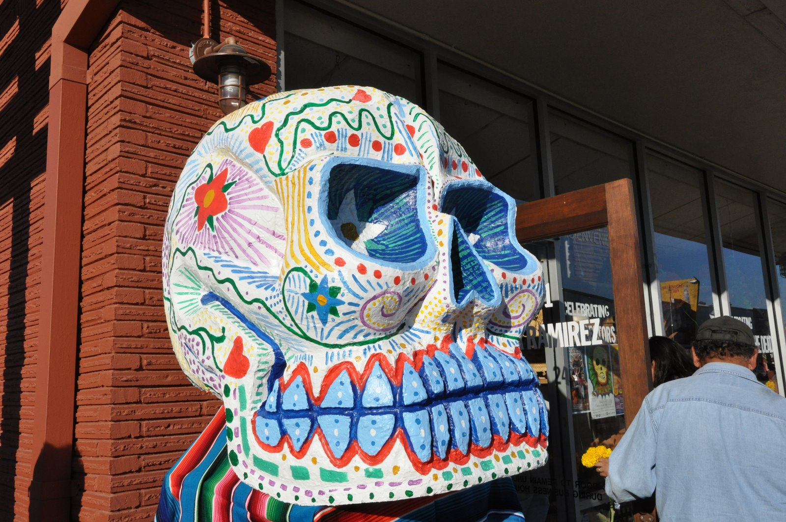 A gigantic, colorful skull