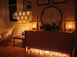 luzinhas na decoração da sala