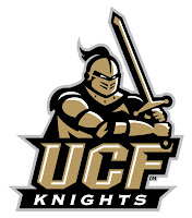 Brown and black knight wielding a sword over the words UCF Knights written in gold and black text