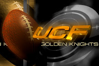 UCF Golden Knights text with a football on the left side and a round silver weight shaped image on the right side.